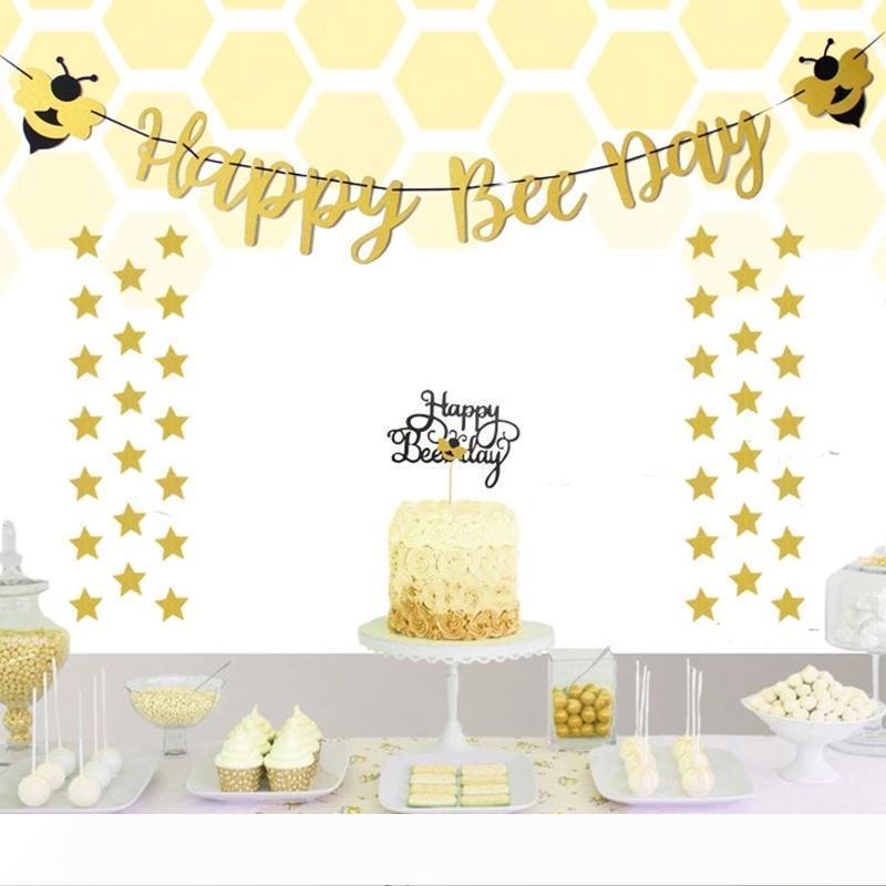 B Bee Party Bannière Bumble Bee Décor de fête d'anniversaire Bumble Bee gâteau Toppers baby shower de fille de garçon 1ème anniversaire Supplie