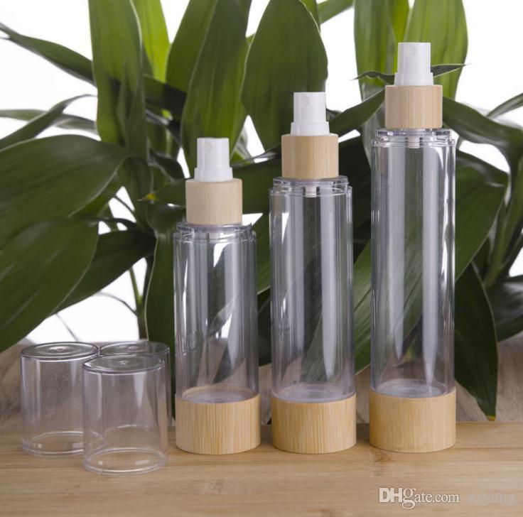 20/30/50/80/100/120 ml Bambus Cosmetic Probenbehälter Emulsion Lotion Bambus Vacuum Airless Pumpflaschen SN3931