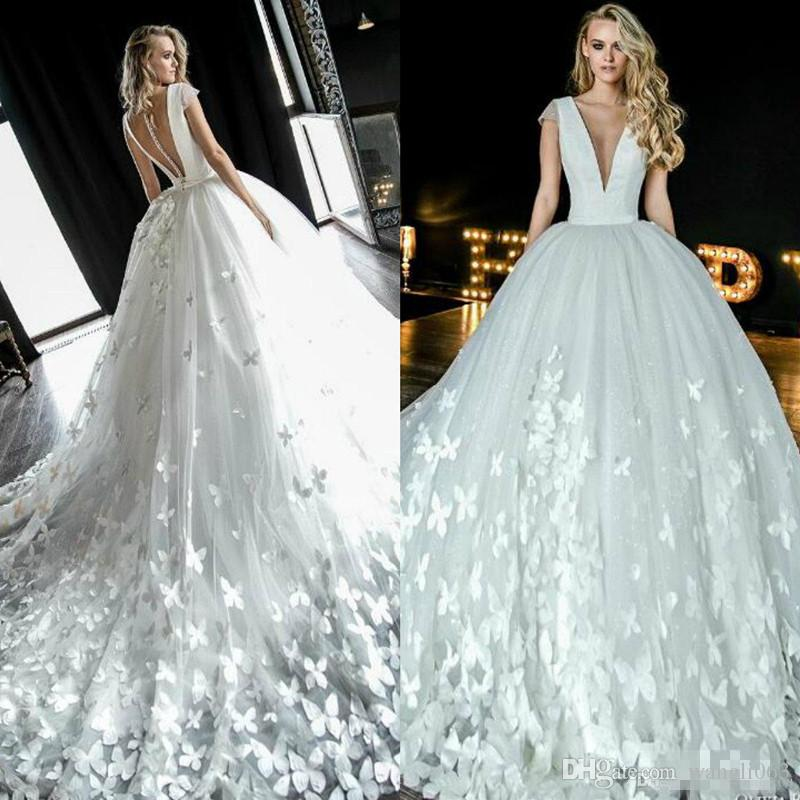 Butterfly Appliques A Line Wedding Dresses 2019 with Cap Sleeve Sheer V Neck Romantic White Tulle Buttons Back Bridal Gowns