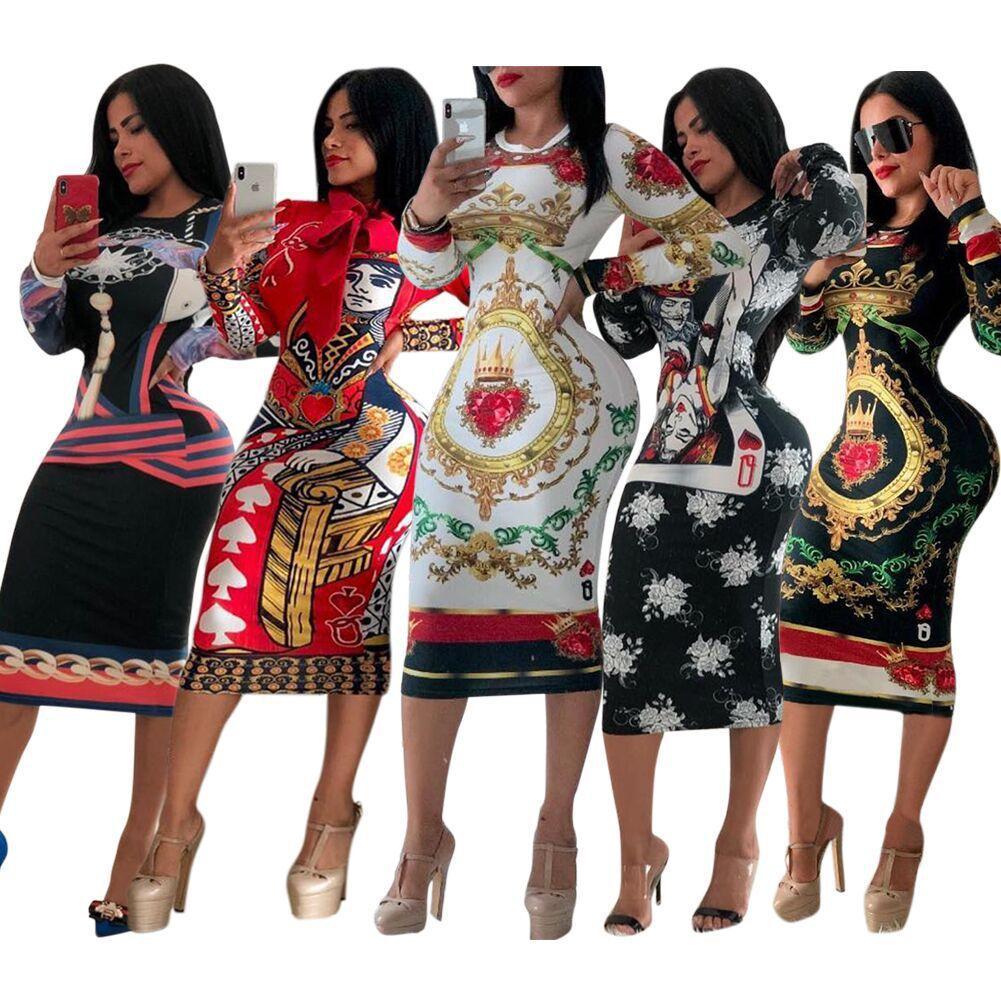 Womens Designer Dress Stretch Luxury Party Dress Skinny Designer Club Wear Gorgeous Multi-style Bodycon Floral Print Women Brand Clothing