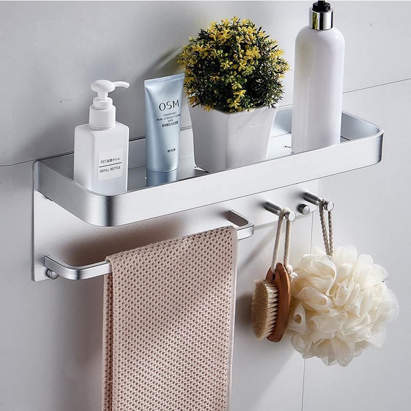 New Style prateleira do banheiro fixado na parede Punch-livre Shampoo Prateleiras Duche Titular Com Bar Toalha de Banho Organizador Acessórios