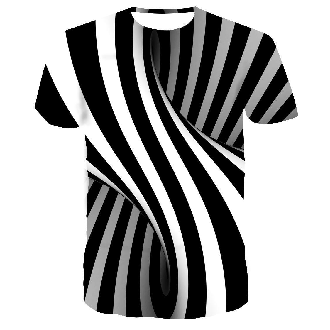3D футболки Трансграничных взрыва черно-белый гипноз футболка свободная спортивная вскользь люди способа головокружения цифровой печать OE TX