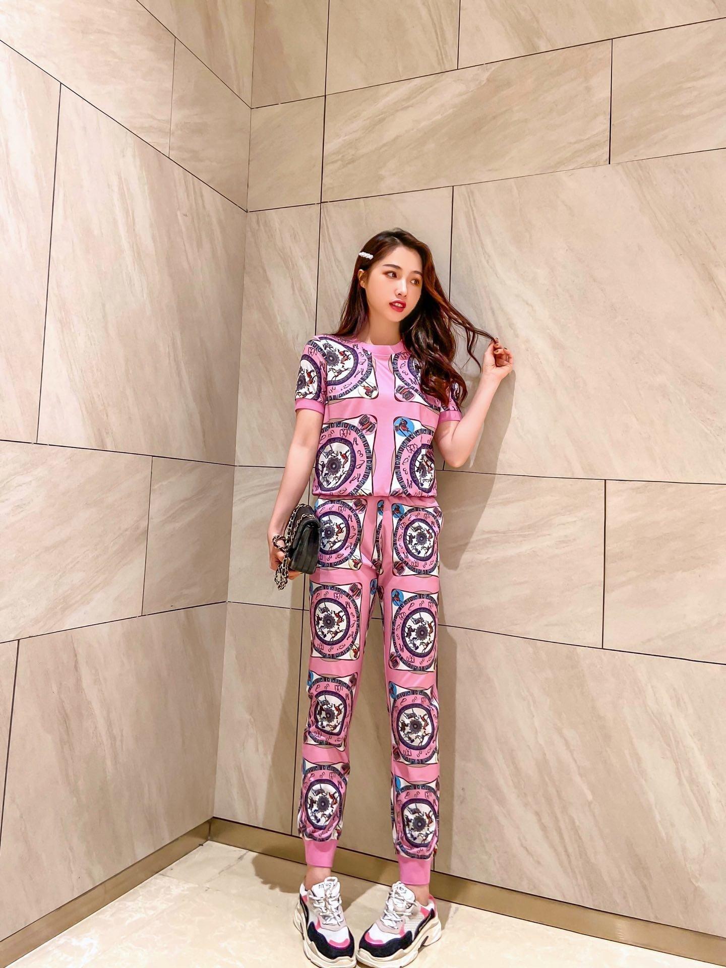 2020 de alta calidad de las señoras pantalones conjuntos tops + Pantalones 2 piezas de primavera y verano casual conjuntos de ropa de moda JA94 l_sun