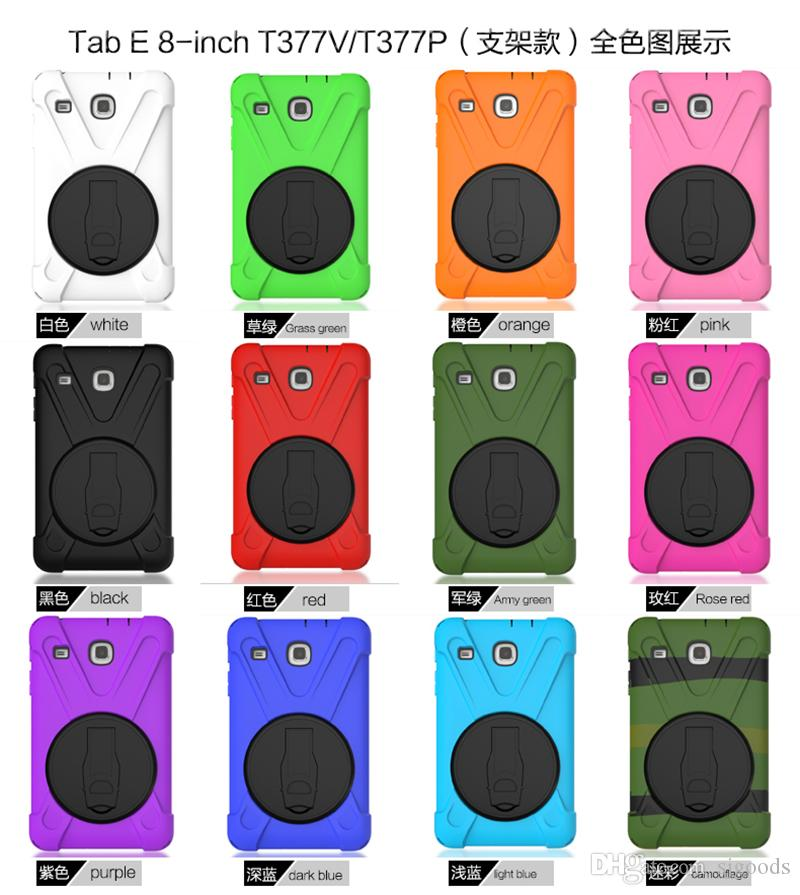 Casual Drop resistance Case with Kickatand Hybrid Heavy Duty Armor Silicone Case for Samsung Galaxy TAB E T377 8.0 Tablet+Pen