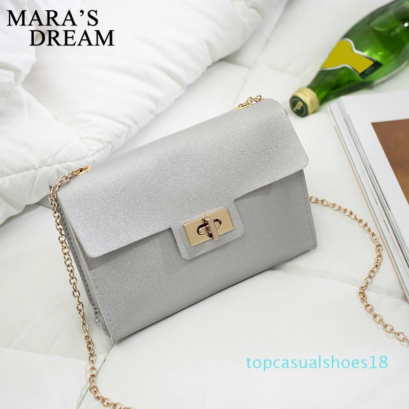 di Mara Sogno 2020 nuova catena di colore Pure Fashion Bag Women Shoulder Bag Messenger Blocco semplice T18