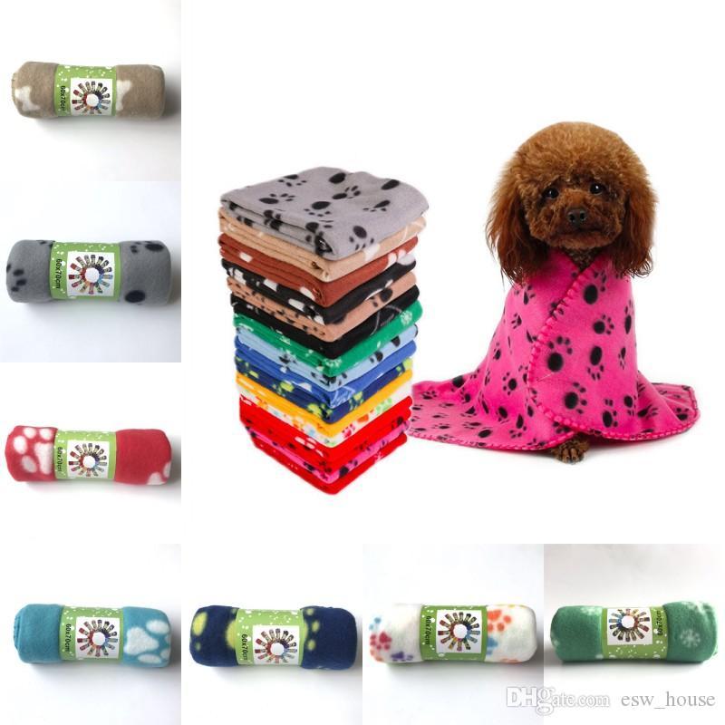 باو طباعة الحيوانات الأليفة القط الكلب الصوف بطانية ناعمة الحيوانات الأليفة الصغيرة الدافئة باو طباعة القط الكلب جرو الصوف بطانية الجانب الناعمة