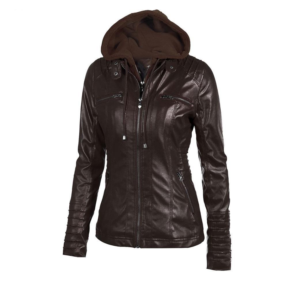 2019 Новая мода Женщины Осень Зима Кофе Кожа PU куртки молния Cap воротник Biker Jacket