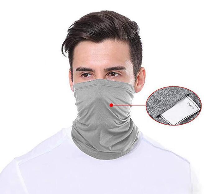 Sciarpa Bandane filtro in bicicletta Maschera Buff con Safety PM 2,5 Face Filtri della copertura della mascherina di moda antivento Sciarpe Copricapo GGA3343