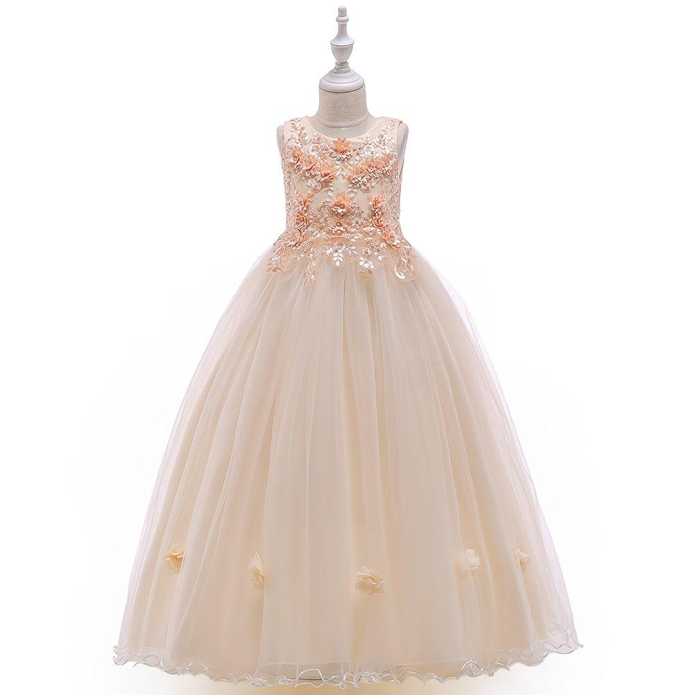소매 새로운 디자인 여자 자수 롱 볼 가운 드레스 어린 소녀 파티 드레스 영성체 웨딩 드레스 LP-212