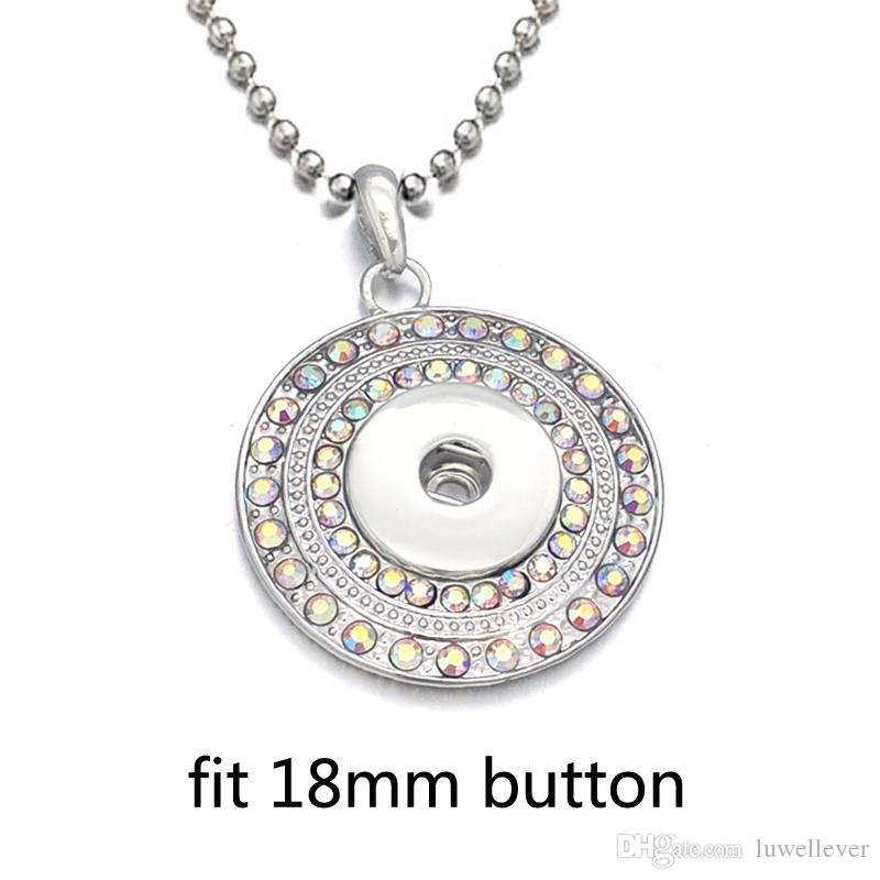 Luwellever Interchangeable Metal Flower Tree Ginger Crystal Necklace 015 Fit 18mm Snap Button Pendant Necklace Charm Jewelry For Women Gift