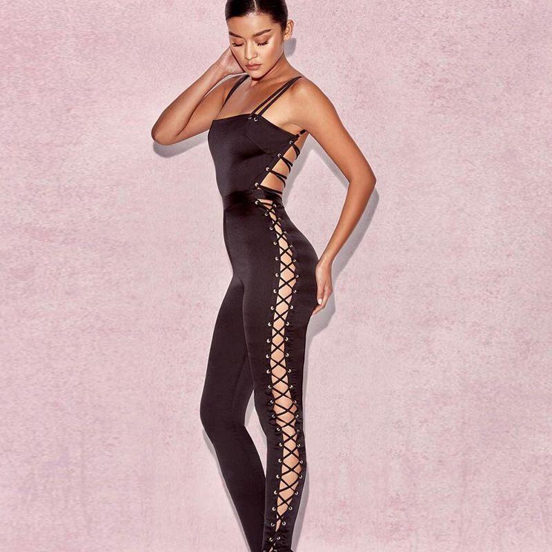 Satin Bandage Design Jumpsuits Womens Slim Black Jumpsuit Spaghetti Strap One-piece Long Pants Sexy Backless Jumpsuits
