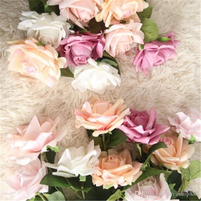 Nova Moda Mão Rose Flores De Plástico Artificial Flor Decoração de Casa Decorações De Natal Do Casamento Festa Festival Grinaldas Atacado H150