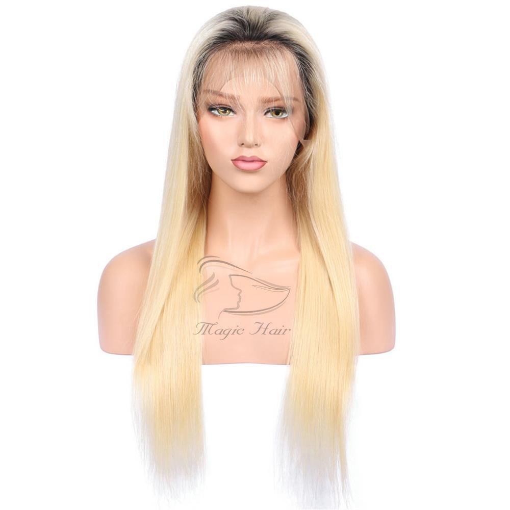 Tam dantel İnsan saç peruk bebek saç Öncesi Koparıp ile Brezilyalı Remy 1bT # 613 Ombre Sarışın Dantel ön İnsan saç peruk