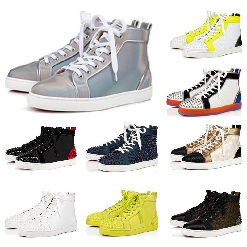 جديد رجل إمرأة حذاء عرضي العلامة التجارية برشام الأزرار شقة أحذية ACE الموضة حذاء رياضة الدانتيل متابعة السامي الأعلى الأحمر أسفل الأحذية الفاخرة الشعبية احذية الساخن