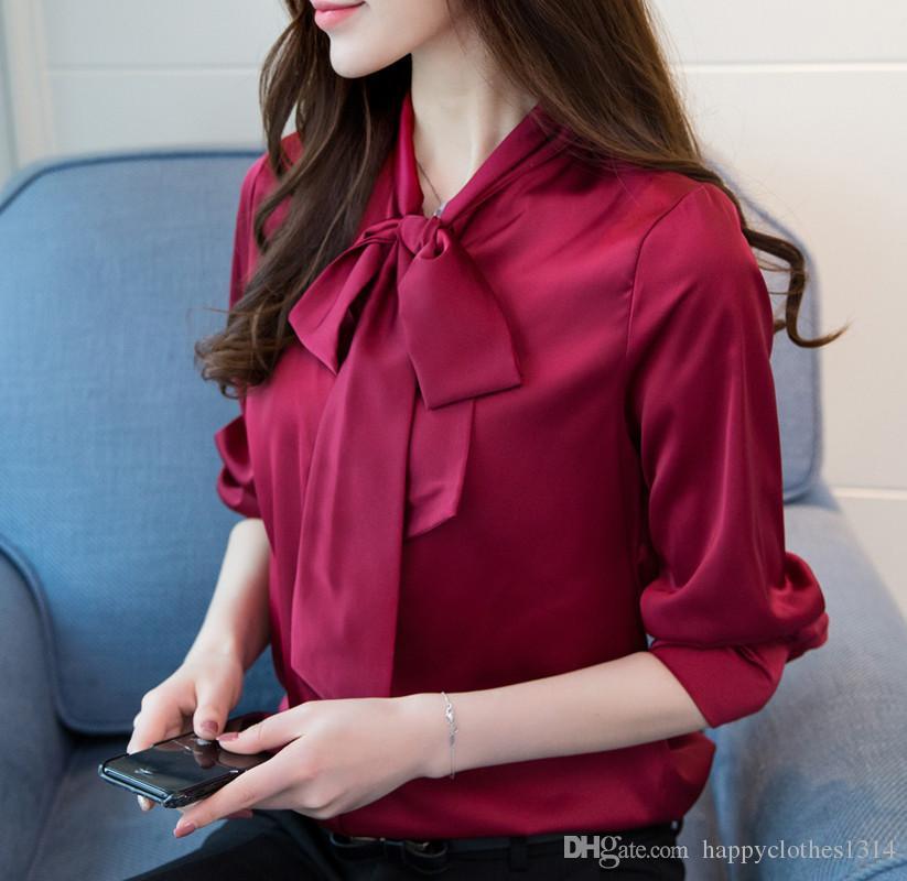 Camicia di raso 2020 Runway delle donne con il collo Bow Plus Size manica lunga signore di lusso del progettista camicette eleganti Pulsante Office Camicie Tops