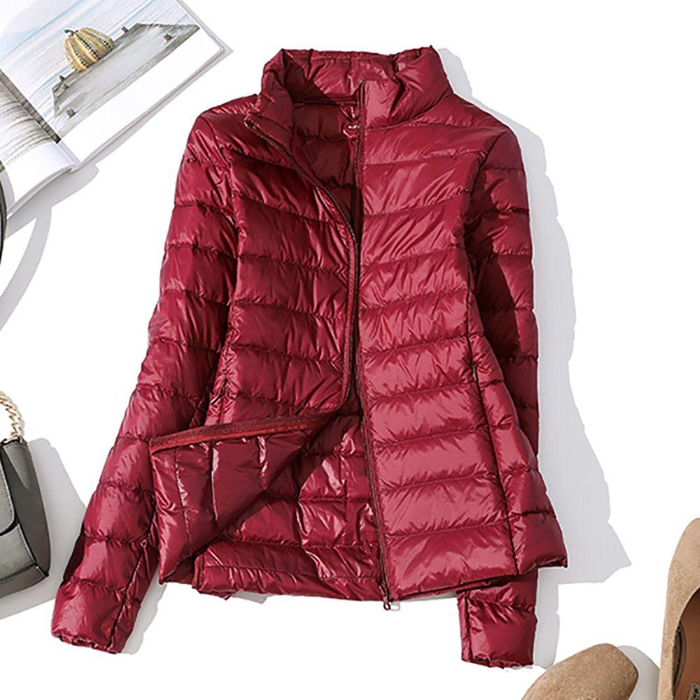 Ultralight de invierno por la chaqueta a prueba de viento caliente de las mujeres de las mujeres Ligera poco voluminoso abajo cubren más del tamaño ocasionales adelgazan otoño ParkasMX190927