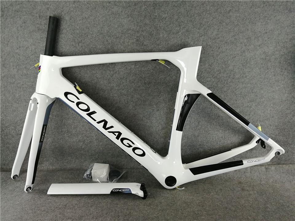 Nouveau Colnago Road Cadre de vélo Blanc Full Carbon Fibre de carbone Frameet Cadre de vélo de carbone 16 Couleur différente