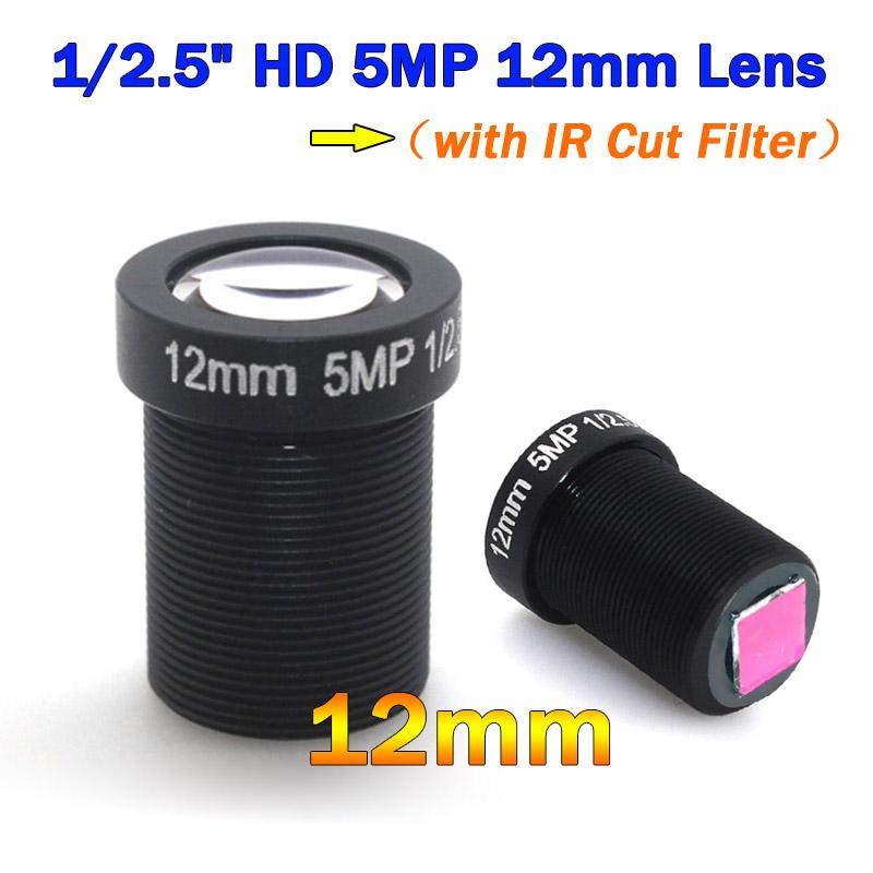 Free DHL HD 5Megapixel M12 Fixed 1/2.5 Inch Monofocal 12mm CCTV Lens + 650nm IR Cut Filter FPV for Cctv Security Camera System