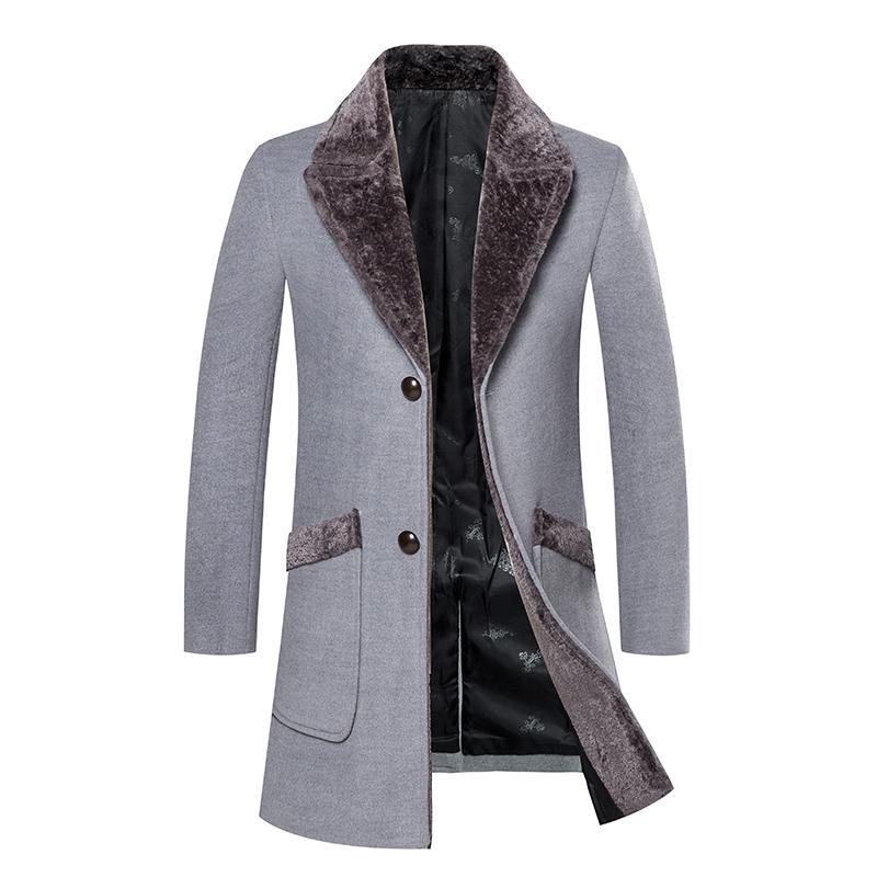 Casaco de inverno dos homens de grande porte, versão coreana do fino longo lã casuais casaco de lã, moda tendência temperamento casaco fino