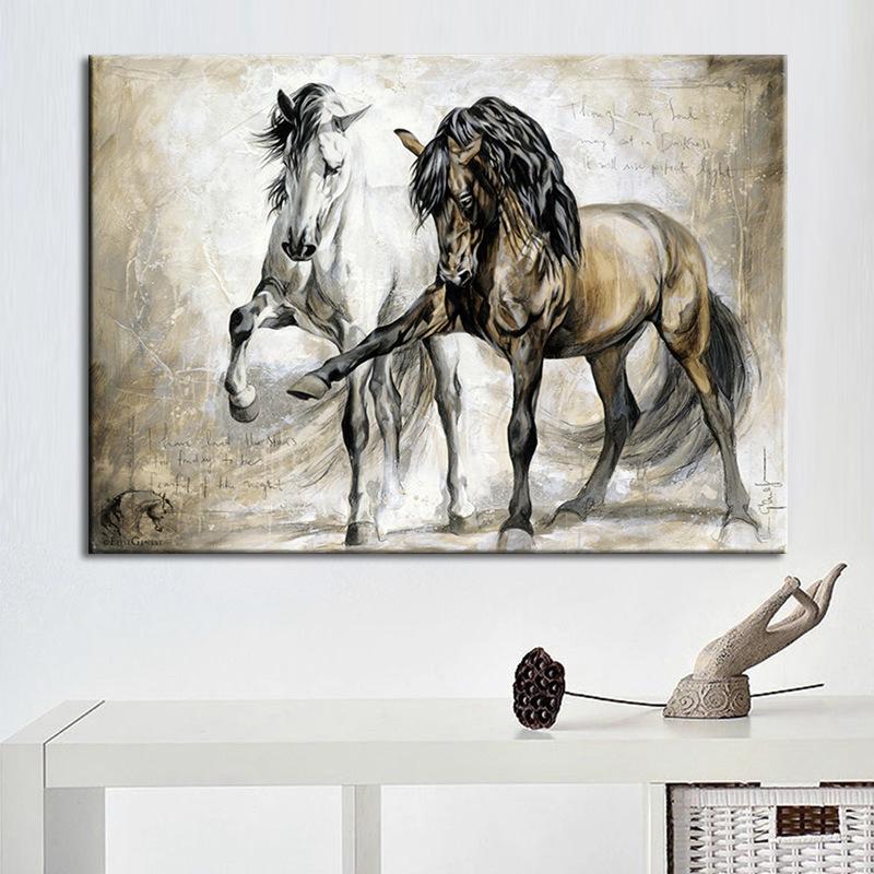 Watercolor Painting Horse Canvas Poster Prints Art Wall Modern Decor Frameless
