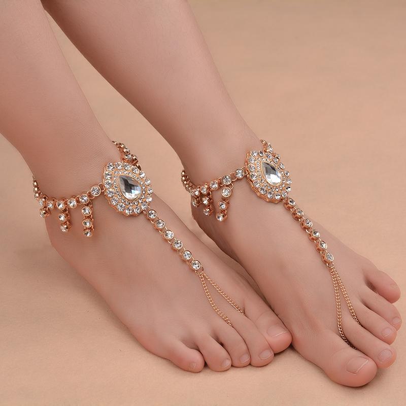 Ingemark Beach Vacation goccia dell'acqua pendente di cristallo sandali sexy femminile gioielli catena di Boho strass calzino da sposa