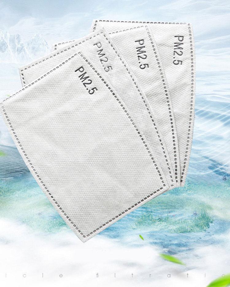 قناع مرشح PM2.5 مكافحة الضباب، والغبار والرش منصهر من الكربون المنشط، يواجه خمسة طبقة الاطفال عنصر فلتر قناع