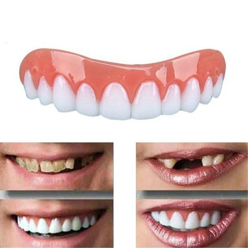 1PC الأبيض الأسنان تعيين سيليكون محاكاة في الصف أطقم الأسنان طقم أسنان الأغشية فليكس الاحتواء أدوات لصق