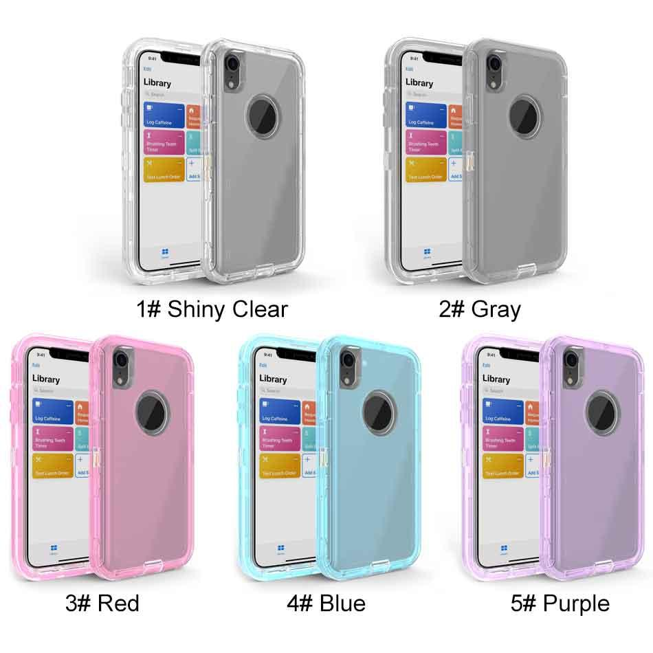 Para Iphone XS Max XR 8 Plus Samsung Nota 9 S10 Transparente Heavy Duty Defender Caso absorção de choque Crystal Clear Caso nenhum clipe OPP Bag