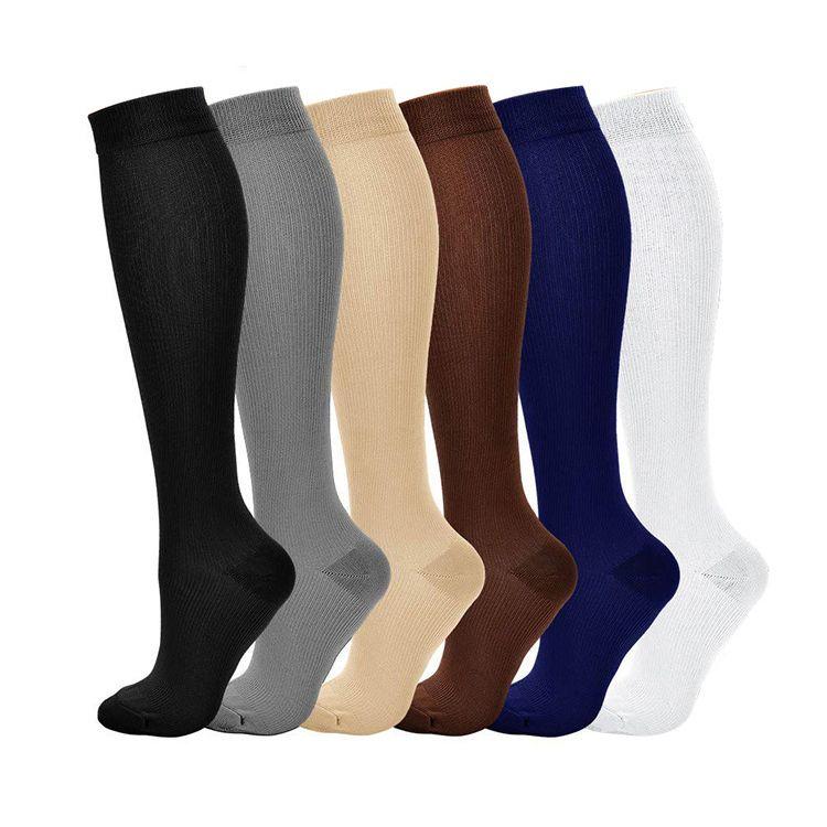 Compactar Meias Pressão Leg Homens Mulheres 15-20 mmHg Correr Desporto viagem Compressão Meias Multi Color nylon preto White Socks