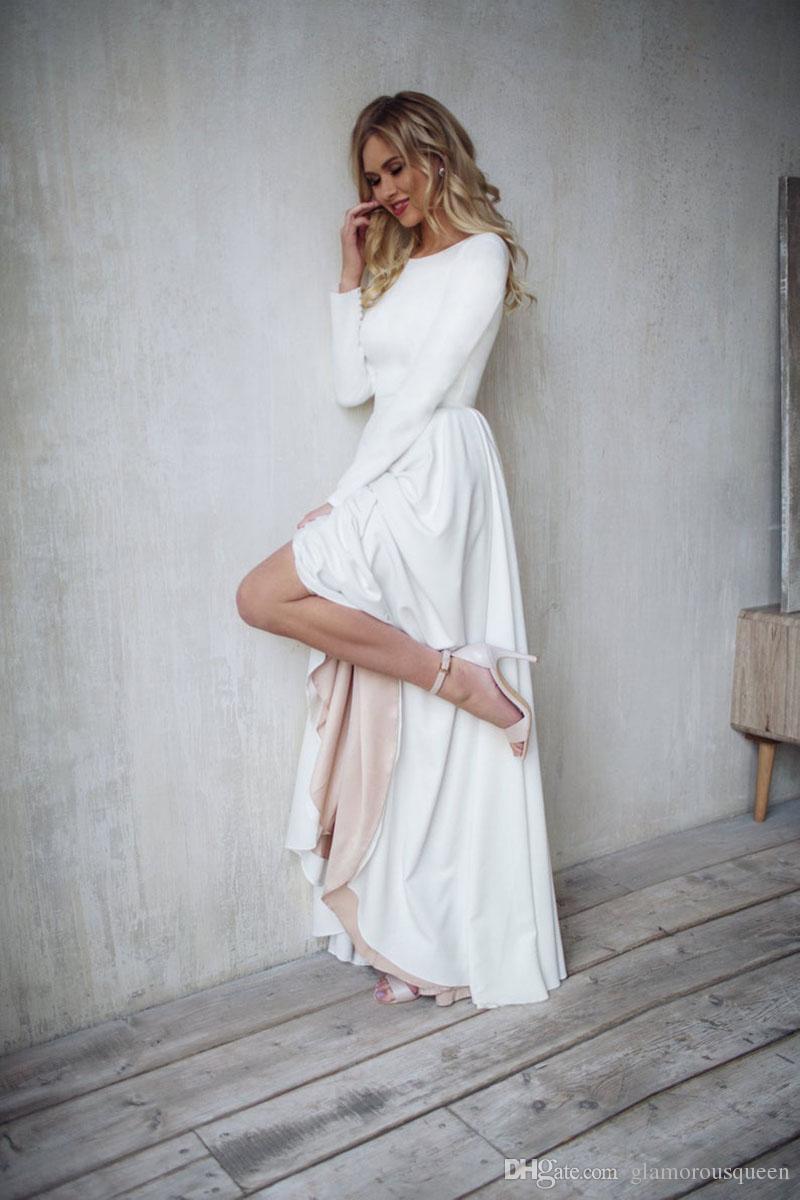 Bohemian Abito da sposa a maniche lunghe Alto Basso Abiti da sposa elegante Backless Vestido De Noiva Lorie abiti di nozze per le donne