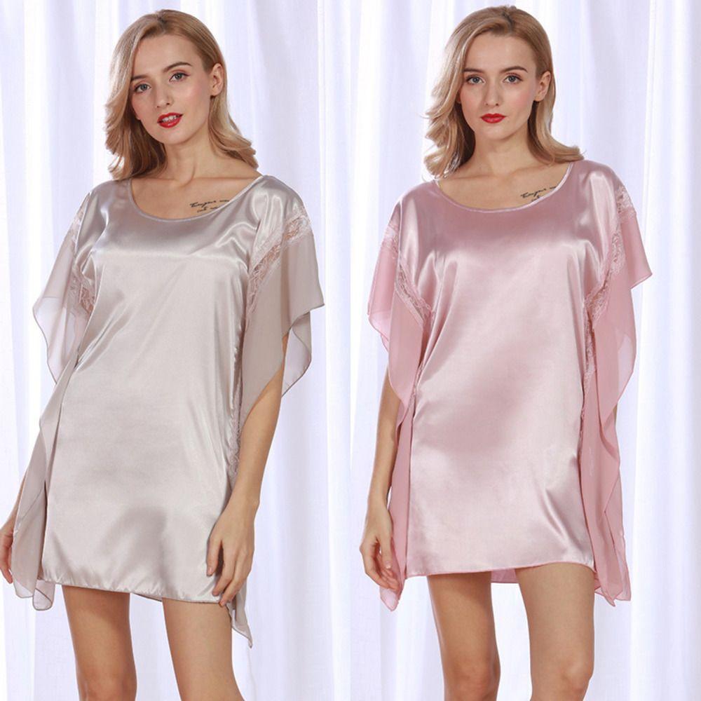 Soie classique comme le polyester Pyjama femmes rêve Nightgown Col rond Sexy Vêtements Accueil