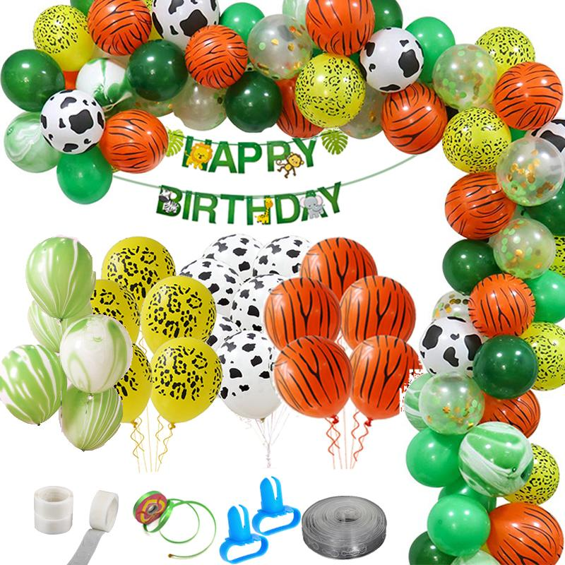 75PCS Jungle Party Balloons Decoration Kit Safari Party Baby Shower Animal Balloons Arch Kids Birthday Balloon Zoo Themed Party T200526