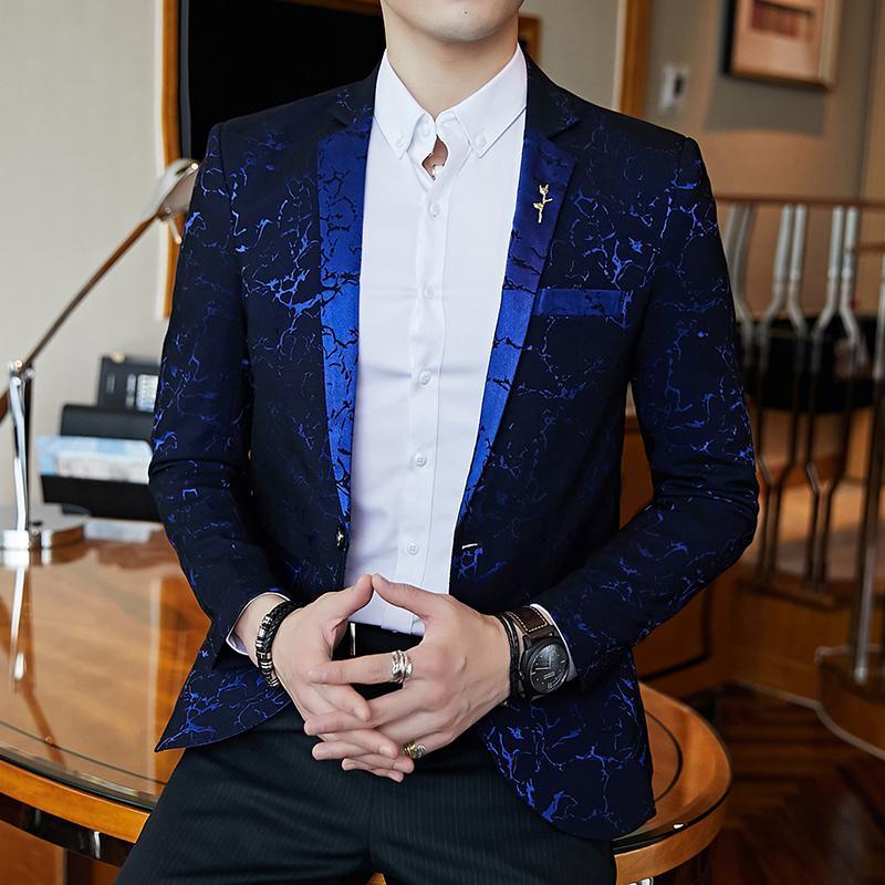Luxury Party Prom Suit Jacket Модные мужские Печатные Тонкий Пиджак Элегантный Свадебный Лучший Мужской Пиджак Wine Red Синий Черный Пиджак