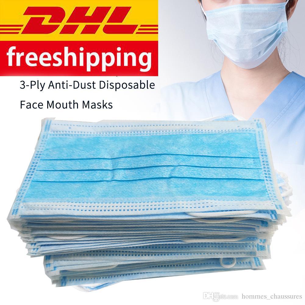 DHL ücretsiz nakliye tek kullanımlık maske 3-layer koruyucu yüz maskesi Anti PM2. 5 yetişkin nefes yüz toz maskesi