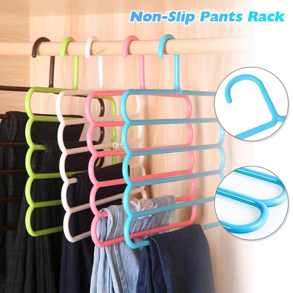 5 strati antiscivolo multifunzionale appendiabiti pantaloni bagagli appendiabiti Rack Multilayer bagagli Scarf Tie Rack Hanger Hook
