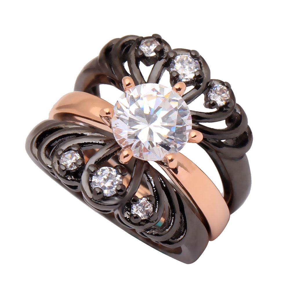 3 Piece Wedding Ring Set Crown Flower Ring Rose Gold Color Vintage Cz Zircon Ring For Women New Design Fashion Jewelry Size 5-12