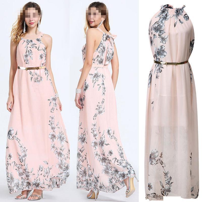 Las mujeres vestidos maxi largo de Bohemia sin mangas de la impresión floral étnico playa del verano femenina con cinturón de vestir con estilo