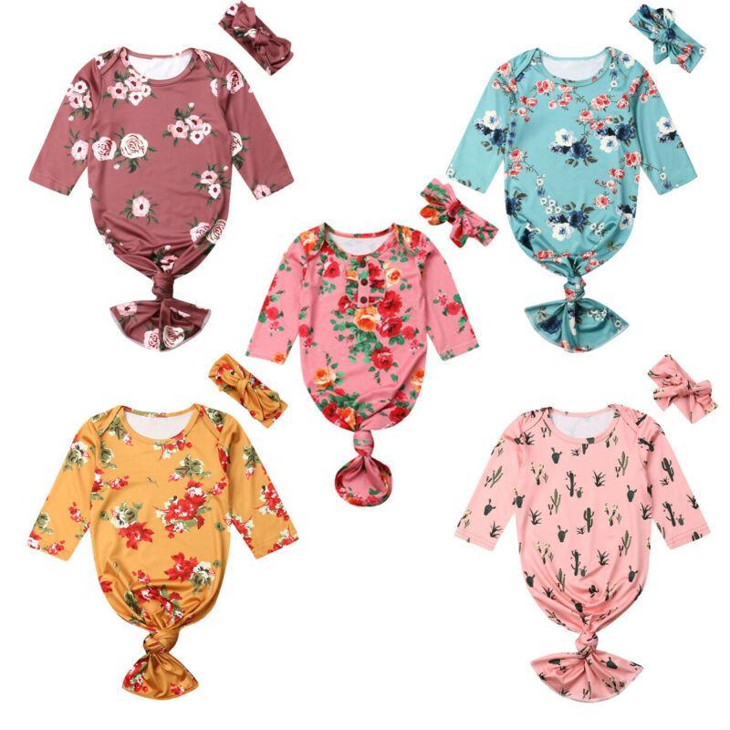 Nouveau bébé Fleur Swaddle Blanket Sac de couchage Muslin Wrap Bandeau Set Accessoires