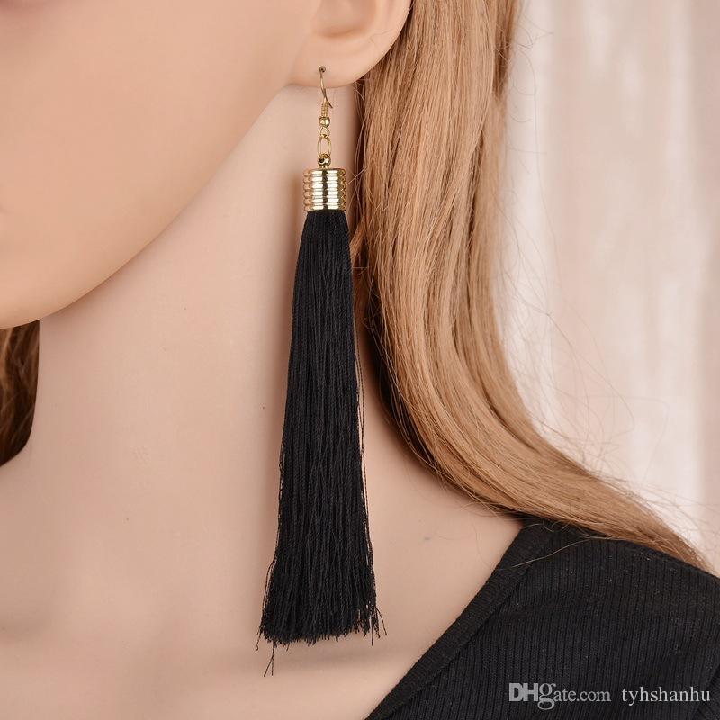 5 farben Modeschmuck Trendy Ohrringe Erklärung Baumeln Lange Quaste Ohrringe Schmuck Für Frauen E1612
