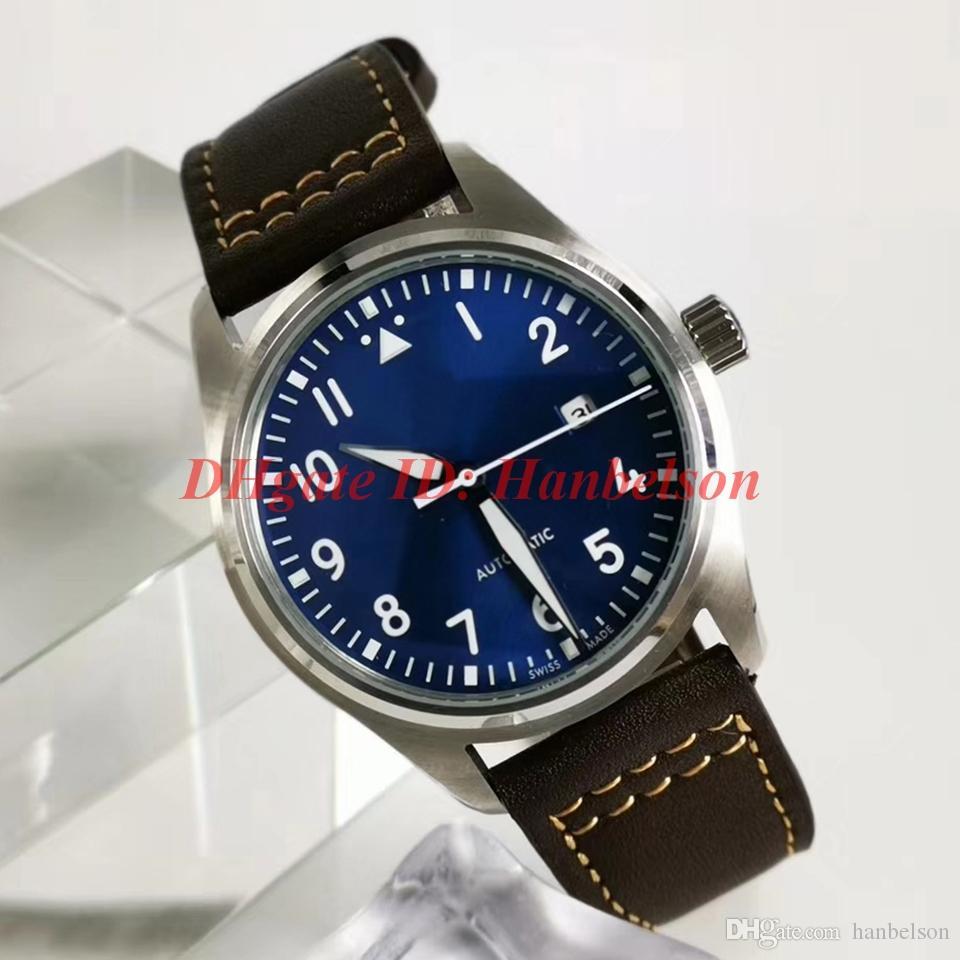 NEW IW327004 Luxusuhr 시계 orologio 디 Lusso를 파일럿 어린 왕자가 자동 시계 가죽 스트랩 블루 다이얼 relojes 드 lujo 파라 아저씨 망