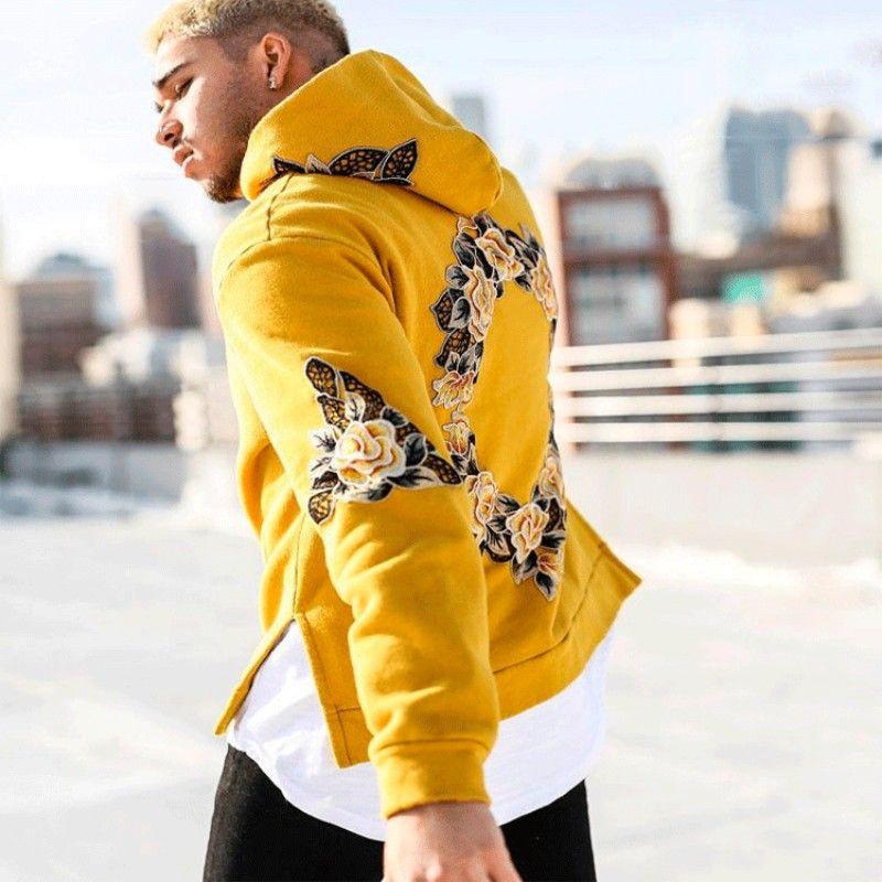 2019 del chándal de los hombres de la impresión de Hip Hop amarilla blanca con capucha sudaderas con capucha para hombre de la camiseta de Streetwear Pullover Fleece con capucha moleton