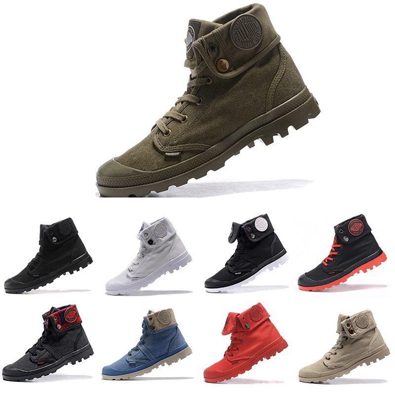 البلاديوم رخيصة Pallabrouse رجال الجيش العسكرية العليا الكاحل رجل إمرأة حذاء قماش أحذية رياضية عادية أحذية الرجل المضادة للانزلاق 36-45