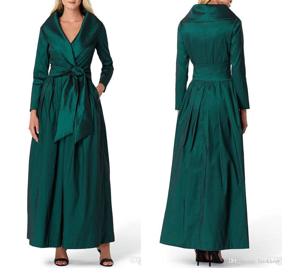 2019 Hunter Mother Of The Bride Dresses V Neck Belt Ankle Length Long Sleeve Wedding Guest Dress Plus Size Mother Gowns