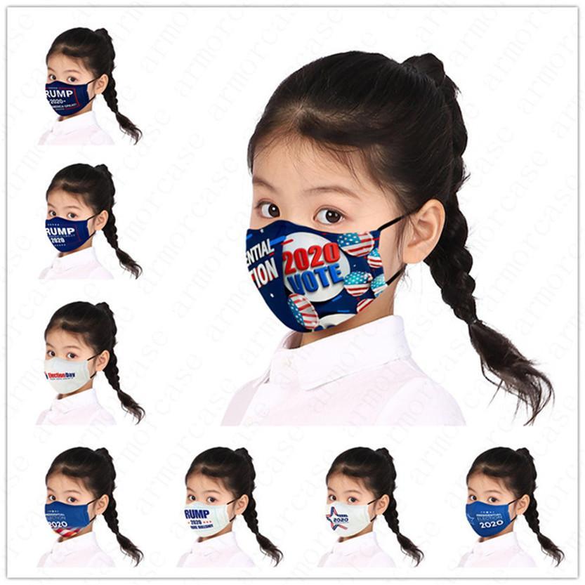 Pour les enfants Masque Lettres Designers Le président américain Imprimer Enfants Garçons Filles Masque Trump Drapeau poussière Brouillard Marque réutilisable Lavable Masques D52810