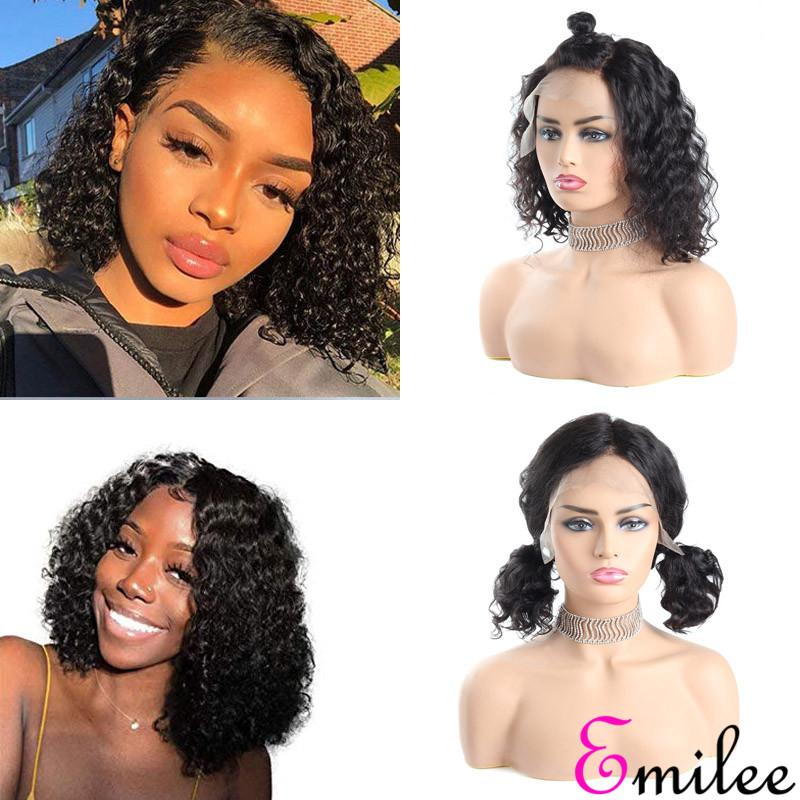 Emilee Shoulder Length Wig 14 inch for Girls Mongolian Remy Hair Bob Wig Deep Wave Short Wig ( 14inch Natural Color)
