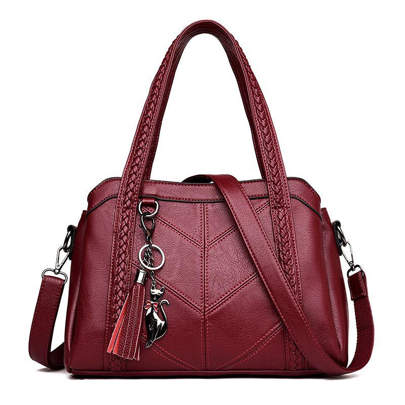 Hot Sale Women Casual Tote Bag Female Handbag Large Big Shoulder Bag For Women Tote Ladies Vintage Genuine Leather Crossbody Bag Y19052402