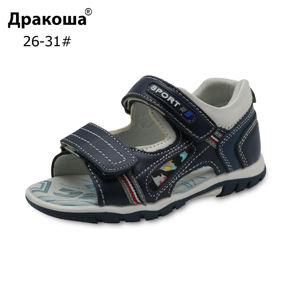 Apakowa Brand 2018 New Big Kids Shoes Genuine Leather Boys Sandals With Arch Support Flat Orthopedic Children's Shoes Eur 26-31 Y19051602