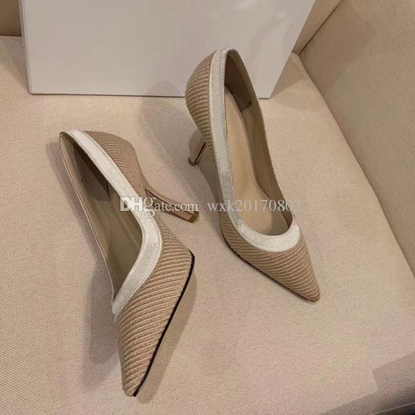 Kostenlose Lieferung, so Kate Stil 9,5 cm Schuhe mit hohen Absätzen, nacktem Leder spitzen Schuhe mit hohen Absätzen kleine Lederschuhe gestrickt