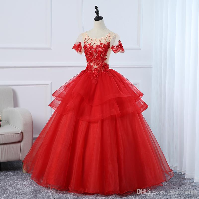 Kırmızı kısa kollu ruffled lüks nakış açık pembe ruffled prenses balo uzun elbise Ortaçağ Rönesans elbise kraliyet Victoria elbise