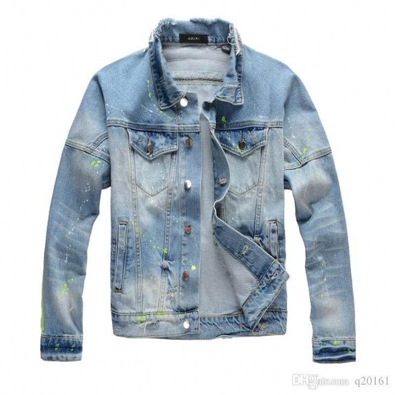 2020 Nova motocicleta da listra impressão jaqueta jeans alta designer de moda famoso bombardeiro Denim de Slim jaqueta corta-vento Mens roupas jean